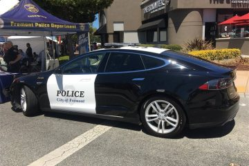 Police Officer in Tesla